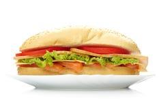Grote sandwich op witte plaat Stock Fotografie