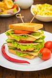 Grote sandwich, vlees, sla, kaas en groenten op geroosterd Houten achtergrond Close-up Royalty-vrije Stock Foto's