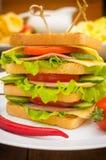 Grote sandwich, vlees, sla, kaas en groenten op geroosterd Houten achtergrond Close-up Stock Fotografie