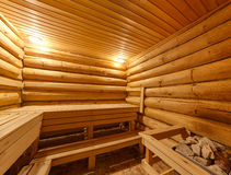 Grote sauna met de oven royalty-vrije stock afbeeldingen