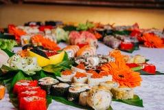 Grote selectie van Sushi Maki, Close-up Royalty-vrije Stock Foto's