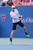 Grote Slagkampioen Andy Murray tijdens US Open 2014 ronde gelijke 4 tegen Jo-Wilfried Tsonga Royalty-vrije Stock Afbeeldingen