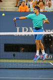 Grote Slagkampioen Roger Federer tijdens derde rou Stock Foto's