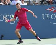 Grote Slagkampioen Stanislas Wawrinka van Zwitserland in actie tijdens zijn ronde gelijke vier bij US Open 2016 Stock Foto's