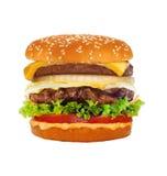 Grote smakelijke die cheeseburger op wit wordt geïsoleerd Royalty-vrije Stock Afbeeldingen