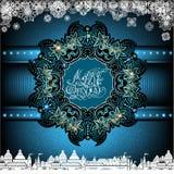 Grote sneeuwvlok van installatie en bloempatroon in het centrum op Kerstmis blauwe achtergrond Royalty-vrije Stock Afbeelding