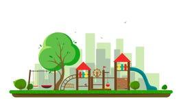 Grote speelplaats met een silhouet van de stad en de vogels Vectorillustratie van een vlakke stijl royalty-vrije illustratie
