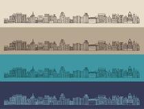 Grote stad, architectuur, gegraveerde illustratie, getrokken hand Royalty-vrije Stock Fotografie