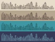 Grote stad, architectuur, gegraveerde illustratie, getrokken hand Royalty-vrije Stock Foto's