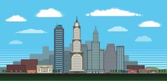 Grote stad in dag met gedetailleerde eigenschappen Stock Afbeelding