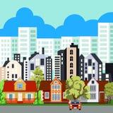 Grote stad in de zomer stock illustratie