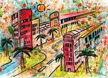 Grote stad. De zomer en wegen en straat, Stock Foto