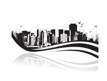 Grote Stad - Grunge gestileerde stedelijke achtergrond. Vector Royalty-vrije Stock Foto