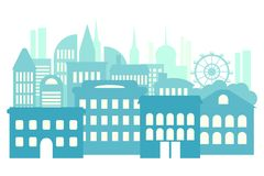 Grote stad, metropool, high-rise gebouwen Blauwe Abstracte Achtergrond royalty-vrije illustratie