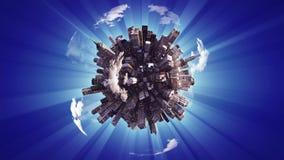 Grote stad op kleine planeet stock illustratie