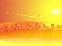 Grote stad van skyscrape tegen zonsopgang. Royalty-vrije Stock Foto's