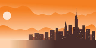 Grote stad: vector illustratie Stock Afbeelding
