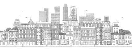 Grote stadshorizon met hand getrokken gebouwen vector illustratie