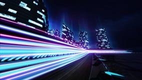 Grote stadsrenbaan met de kleurrijke gloed van de motiesnelheid Stock Foto's
