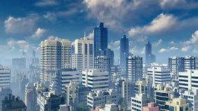 Grote stadswolkenkrabbers bij dagtijdtijdspanne stock illustratie