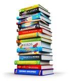 Grote stapel kleuren hardcover boeken stock illustratie