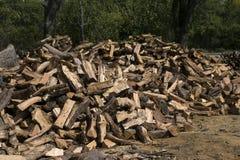 Grote stapel van brandhout die is gesneden en verdeeld Stock Afbeelding