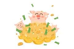 Grote stapel van geld met varken, jaar van het varken, Chinees Nieuwjaar, de leuke vectorillustratie van het beeldverhaalkarakter royalty-vrije illustratie