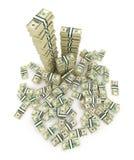 Grote stapel van het geld. Groene 3D dollars de V.S. Stock Afbeelding