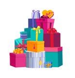 Grote stapel van kleurrijke verpakte giftdozen Mooie huidige doos Het pictogram van de giftdoos Giftsymbool De doos van de gift V Royalty-vrije Stock Afbeelding