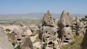 Grote steenstad van uchhisar in Turkije stock videobeelden