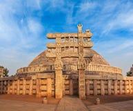 Grote Stupa. Sanchi, Madhya Pradesh, India Royalty-vrije Stock Afbeelding