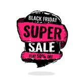 Grote super verkoop, vlakke 50 weg Vector illustratie Stock Foto's