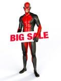 Grote superhero van het verkoopteken Royalty-vrije Stock Afbeeldingen