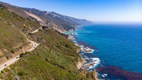 Grote Sur, Californië van hierboven royalty-vrije stock afbeelding