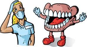 Grote tanden en tandarts Stock Afbeeldingen