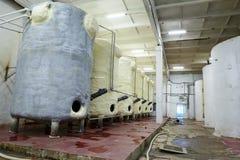 Grote tanks voor de wijnproductie van de wijngisting stock foto's