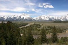 Grote Tetons NP en de Rivier van de Slang Stock Foto