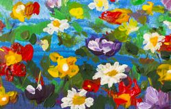 Grote textuur abstracte bloemen Sluit omhoog fragment van beeld van olieverfschilderij het artistieke bloemen Het paletmes bloeit Stock Afbeeldingen