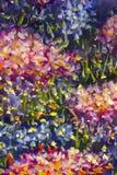 Grote textuur abstracte bloemen Sluit omhoog fragment van beeld van olieverfschilderij het artistieke bloemen Het paletmes bloeit Royalty-vrije Stock Afbeelding
