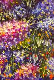 Grote textuur abstracte bloemen Sluit omhoog fragment van beeld van olieverfschilderij het artistieke bloemen Het paletmes bloeit Stock Foto