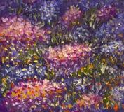 Grote textuur abstracte bloemen Sluit omhoog fragment van beeld van olieverfschilderij het artistieke bloemen Het paletmes bloeit Royalty-vrije Stock Foto