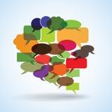 Grote toespraakbel die van kleurrijke kleine bellen wordt gemaakt stock illustratie
