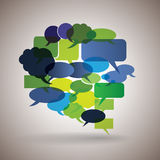 Grote toespraakbel die van kleurrijke kleine bellen wordt gemaakt royalty-vrije illustratie