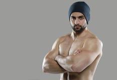 Grote training Portret van spier professionele bodybuilder en Stock Foto