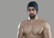 Grote training Portret van spier professionele bodybuilder en Royalty-vrije Stock Afbeeldingen