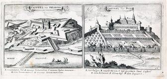 Grote Turkse Oorlog - Kasteel van Presburg en Kasteel van Buda stock foto's