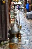 Grote uitstekende tin watter waterkruik Royalty-vrije Stock Foto's