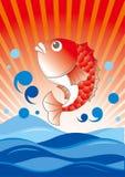 Grote vangst rode snapper - gelukwensenscène in Japanner stock illustratie