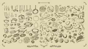 Grote vastgestelde keuken - voedsel vector illustratie