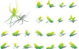 Grote vastgestelde pictogrammen - 10A. Insecten Stock Afbeelding